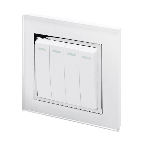 RetroTouch 4 Gang 1 or 2 Way 10A Rocker Light Switch White Glass CT 00251